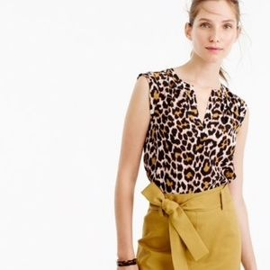 J. Crew Silk Cuffed-sleeve Top in Leopard Print